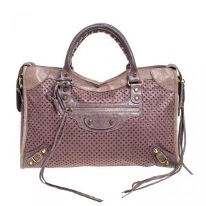 Balenciaga Lilac Cross Perforated Leather RH City Bag