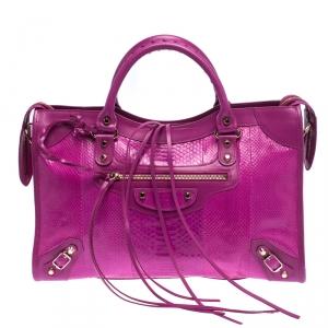 Balenciaga Magenta Python SH City Bag
