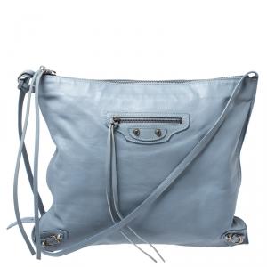 Balenciaga Blue Lambskin Leather Flat Crossbody Bag