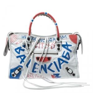 حقيبة يد بالنسياغا سيتي RH صغيرة جلد غرافيتي بيضاء