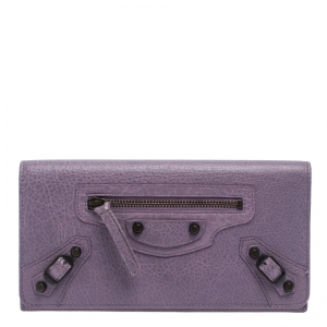 Balenciaga Lilac Leather Classic Money Continental Wallet