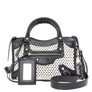 Balenciaga Black/White Leather Motocross Classic Mini City Bag