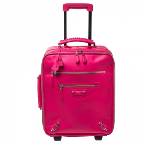 Balenciaga Neon Pink Leather Classic Voyage Carry On Luggage