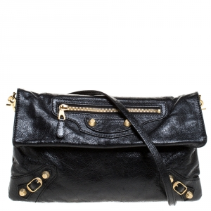 Balenciaga Black Leather Giant GH Envelope Strap Clutch
