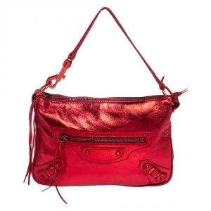 """حقيبة كلتش بالنسياغا """"ميني سيتي"""" جلد أحمر ميتاليك"""