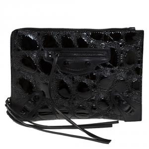 Balenciaga Black Croc Embossed Patent Leather Metallic Edge Zip Around Clutch
