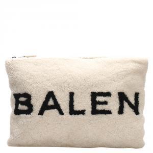 Balenciaga White Shearling Logo Clutch Bag