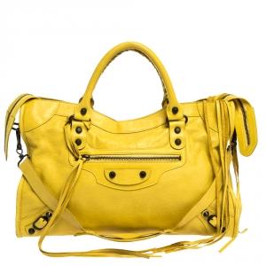 حقيبة يد بالنسياغا أر أتش سيتى جلد صفراء