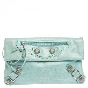 Balenciaga Vert D'eau Leather Giant Envelope Flap Clutch
