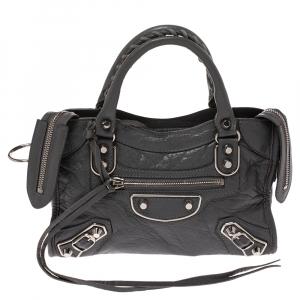 Balenciaga Gris Pyrite Leather Mini Metallic Edge City Bag