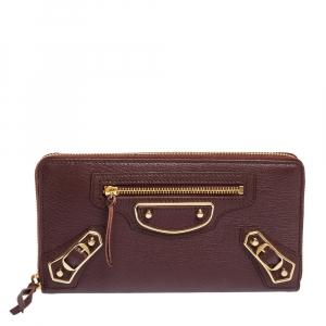 Balenciaga Grenat Leather Classic Metallic Edge Zip Around Wallet