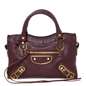 Balenciaga Grenat Leather Mini Metallic Edge City Bag
