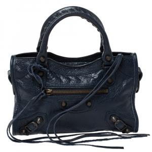 Balenciaga Bleu Obscur Leather Mini RGH City Bag