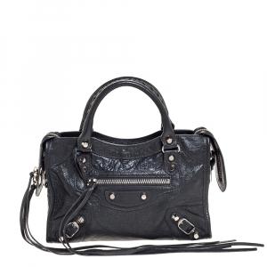 Balenciaga Grey Leather Mini Classic Edge City Bag