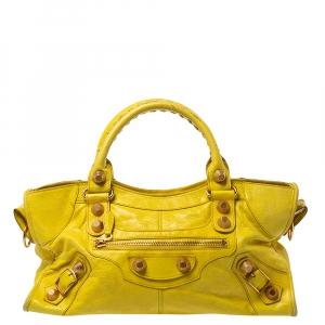 Balenciaga Yellow Leather GGH Part Time Tote