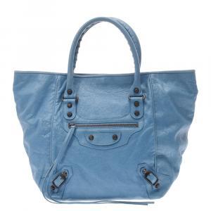 Balenciaga Blue Lambskin Leather Velo Large Bag