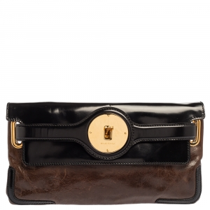 Balenciaga Brown/Black Leather and Patent Leather Lune Clutch
