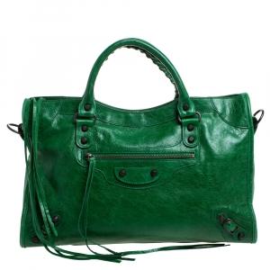 Balenciaga Grass Green Leather RH City Tote