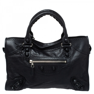 Balenciaga Black Brogue Leather GH City Tote
