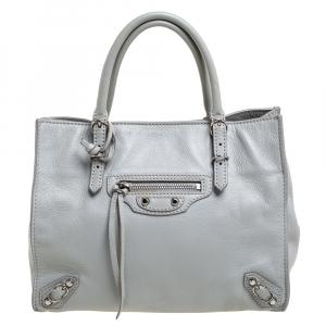 Balenciaga Light Grey Leather Mini Papier A4 Tote