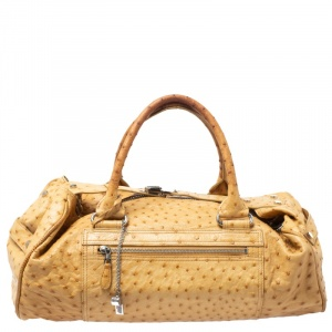 Balenciaga Cream Ostrich Whistle Satchel