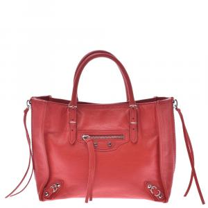 Balenciaga Red Leather Papier A4 Tote Bag