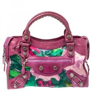 Balenciaga Bubblegum Floral Print Satin and Leather GSH City Tote