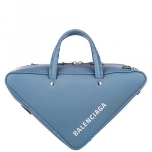 Balenciaga Blue Leather Triangle S Duffel Bag