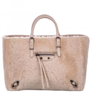 Balenciaga Pink Shearling Fur/Leather Papier A6 Bag