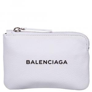Balenciaga White Leather Everyday Logo Clutch