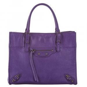Balenciaga Purple Leather Papier A4 Satchel Bag