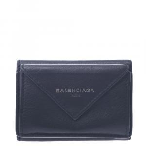 Balenciaga Black Leather  Papier Wallets