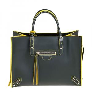 Balenciaga Dark Green/Yellow Leather Papier A6 Tote
