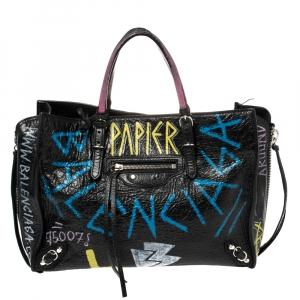 Balenciaga Multicolor Leather Graffiti Papier A6 Zip Around Tote