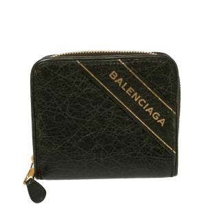 Balenciaga Green Leather Zip Around Compact Wallet