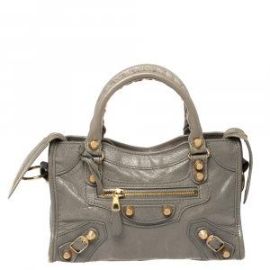 Balenciaga Grey Leather Mini Classic City Tote