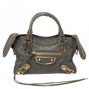 Balenciaga Gris Tarmac Leather Mini Metallic Edge City Bag