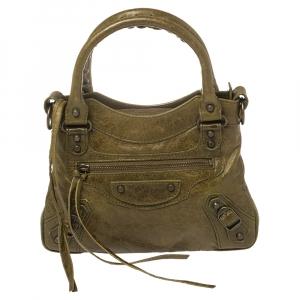 حقيبة بالنسياغا كلاسيك صغيرة جلد زيتوني