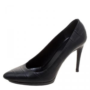 Balenciaga Black Croc Embossed Leather Platform Pumps Size 37