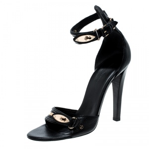 Balenciaga Black Leather Buckle Detail Ankle Strap Open Toe Sandals Size 38 - used