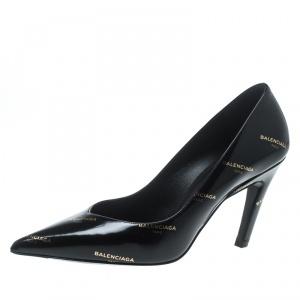 Balenciaga Black Leather Slash Pumps Size 36