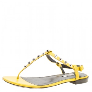 Balenciaga Yellow Leather Arena Studded Thong Sandals Size 38 - used