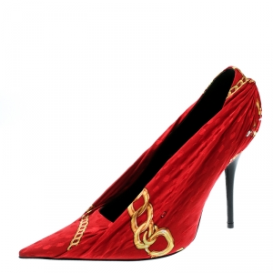 Balenciaga Red Printed Fabric Pointed Toe Pumps Size 38