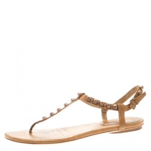 Balenciaga Beige Studded Leather Arena Thong Sandals Size 39.5 - used