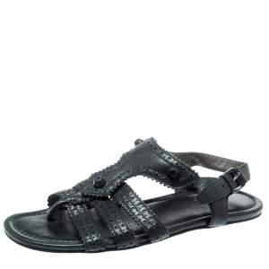 Balenciaga Black Leather Arena T-Strap Flat Sandals Size 37 - used