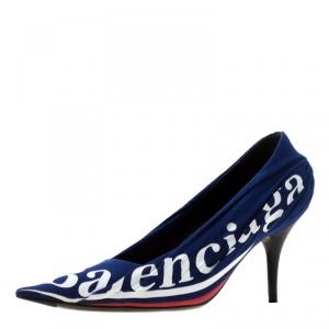 Balenciaga Blue Fabric And Leather Knife Logo Pointed Toe Pumps Size 36