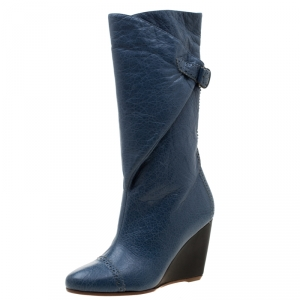 Balenciaga Blue Brogue Leather Wedge Mid Calf Boots Size 36