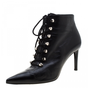 Balenciaga Black Leather Pointed Toe Lace Up Ankle Boots Size 40