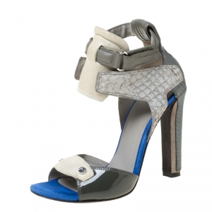 Alexander Wang Grey Leather And Salmon Skin Trim Chloe Ankle Strap Sandals Size 37.5
