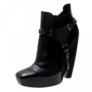Balenciaga Black Leather and Suede Harness Platform Boots Size 40
